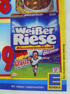 Ausschnitt aus einer edeka-Werbung für das Waschmittel Weisser Riese