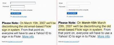 Vergleich der old school-Flickr-Loginsites