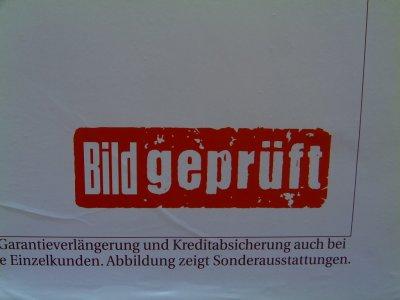 Bild geprüft-Siegel auf vw-Werbung
