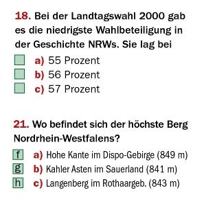 Screenshot zweier Rätselfragen von ksta.de