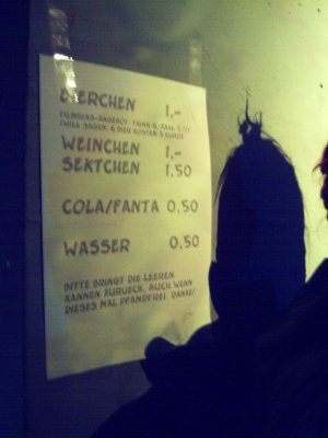 Getränkekarte im Asta-Keller
