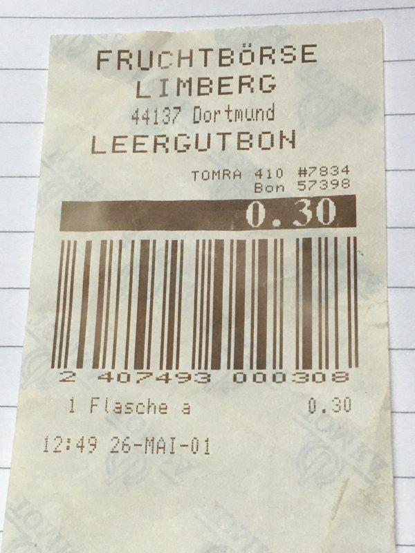 Pfandbon vom 26.05.2001 über 30 Pfennig
